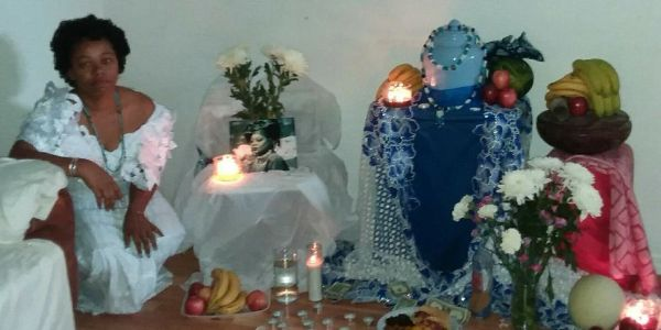 Alter draped in blue and white African Lace.