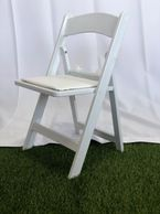 Kids-White Resin Chair w/cushion for rent in orange county