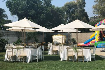 Natural Canvas umbrellas for rent in Orange County