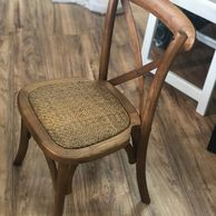"Measures 14"" long by 14"" wide by 25"" tall, seat is 14"" high and 12"" deep cross back children chair"