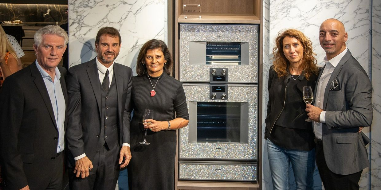 Bespoke Projects at Minotti Cucine London, with Monika Venturini and Alberto Minotti, launching the worlds first crystal encrusted Gaggenau appliances.
