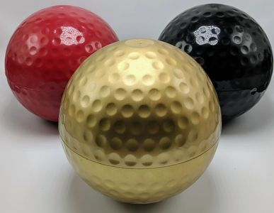 Gold, Red, and Black Colored Golf Ball Urn / Vaults