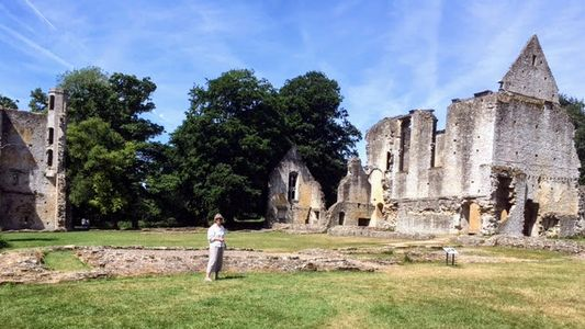 Anne on research trip at Minster Lovell