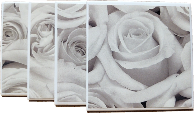 White Rose by Victoria Art Tile CT0102 Handmade Ceramic Coasters Set of 4