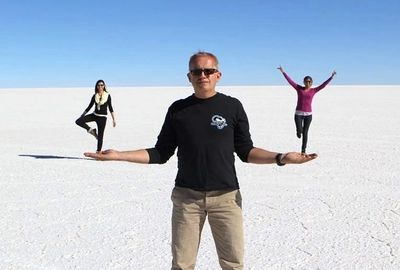 taking photos on the Uyuni Salt Flats is always a hit with guests