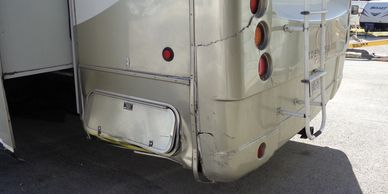 2008 Mobile Suites DRV 5th Wheel rear cap structure, side wall, metal & comp structure damage