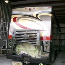 Rear Cap Fiberglass and Paint Repairs on a Travel Supreme Alanti Class A Motorhome RV