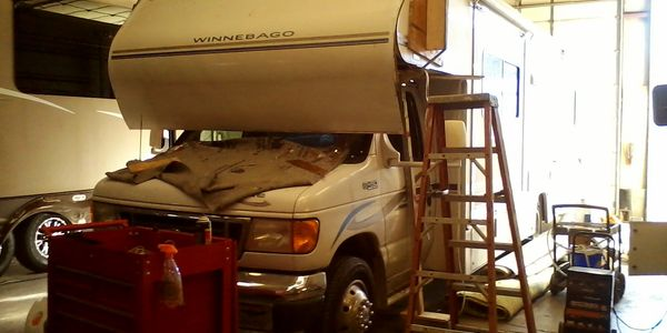 RV roof repair in progress