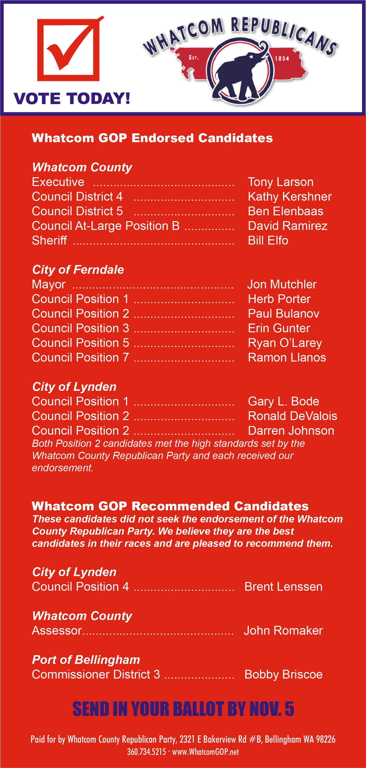Whatcom County 2019 Endorsed Candidates Slate Card