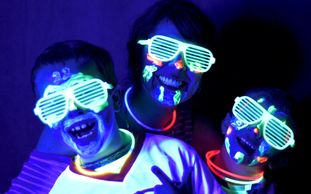 Mom and the boys having a blast during Glow in the Dark themed Mother Son Night!
