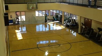 Overlooking the Nautilus Room with basketball court for skills practice.