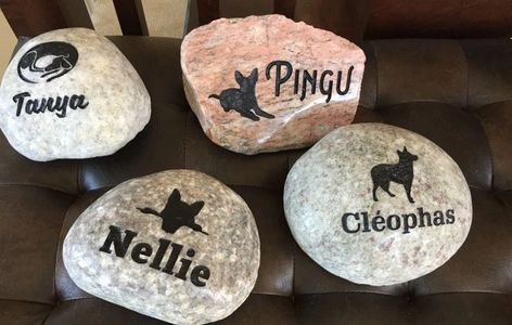 Engraved river rock pet memorials with a light polish.