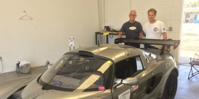 Lotus Cup car at Buttonwillow. Eric Marston, driver on right and Allen Irwin, Mechanical Wizard.