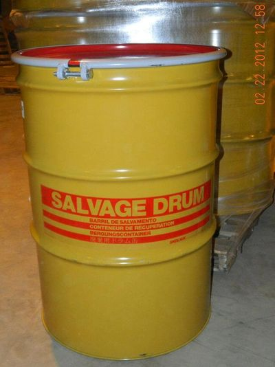 85 GALLON OPEN HEAD NEW UNLINED STEEL SALVAGE DRUM - UN1A2/X440/S - SOLD LID - BOLT RING CLOSURE