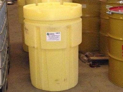 95 Gallon Open Head New UN Rated Poly Overpack - UN1H2/X295/S - Screw on Lid - Yellow