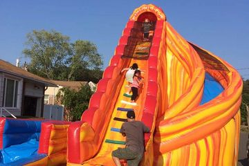 turn waterslide pool bounce house slide corkscrew