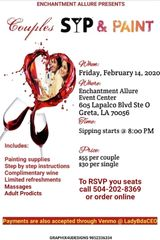VALENTINE'S DAY COUPLE SIP AND PAINT. Valentines Day Events in New Orleans