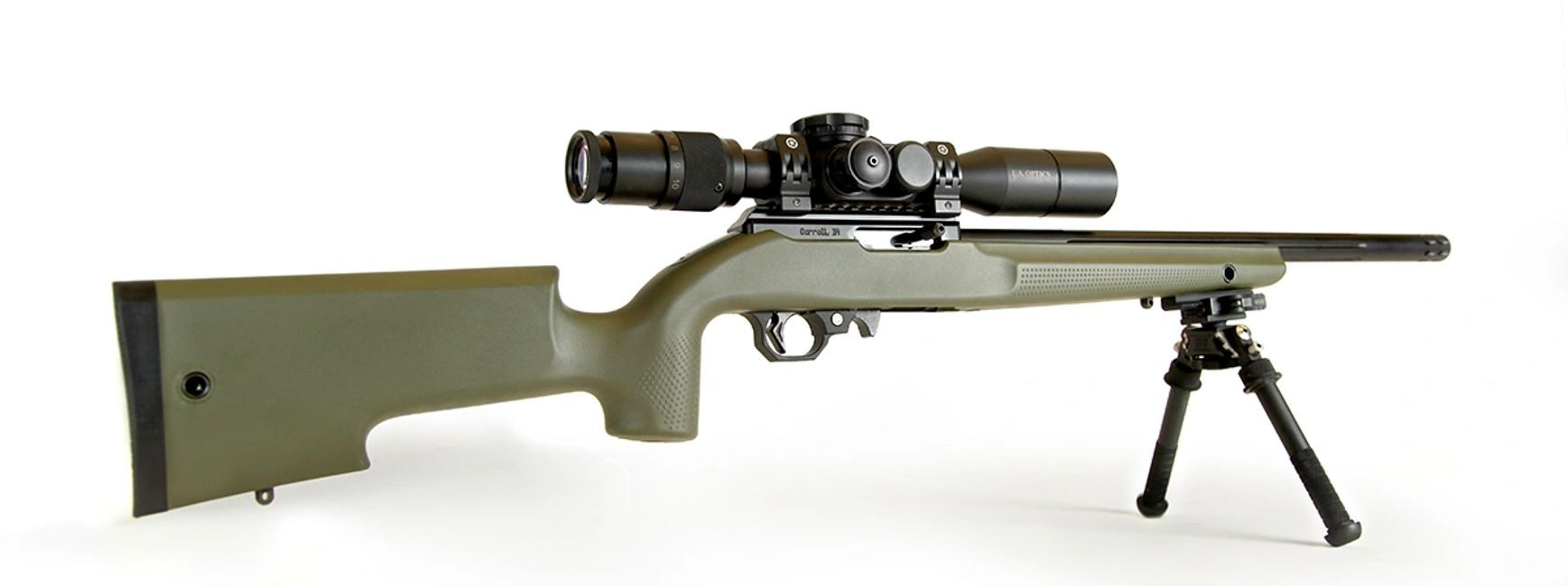 Volquartsen Rifle with Titan 1022 Stock in OD Green.