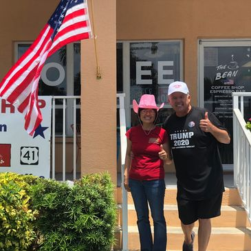 Look for the flag outside The Bean on 41 Coffee Shop and Trump shop in Punta Gorda