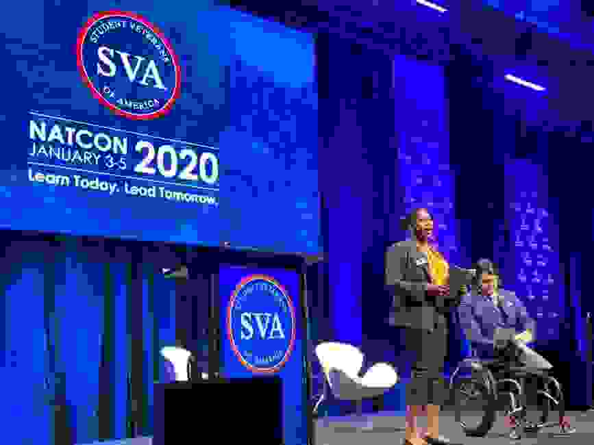 Jan 2020 Anette Nance, 2020 Student Veteran of the Year Finalist address the conference attendees.