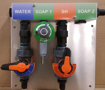 soft wash hydro-mixer, proportioner, mixing valve, bleach mixing, soft wash batch mixing