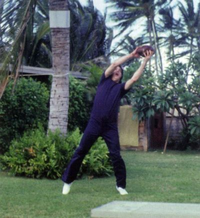 Elvis playing football in Hawaii during his last vacation 1977