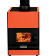 Pyroclassic fireplace in colourful orange