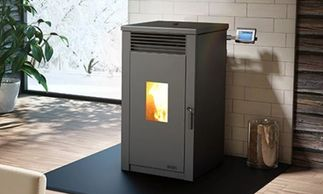 Edison pellet heater on black hearth ,with digital programmable screen pad,
