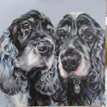 Two spaniels original oil commission painting by Carol Gillan oil