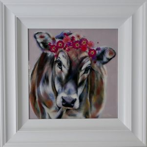 Original oil and resin painting of a cow with red flowers