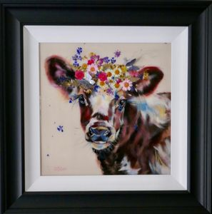 Original oil painting of Norweigan red calf with flowers and resin