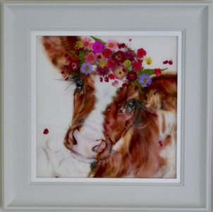 Original oil painting of Holstein cow with flowers and resin