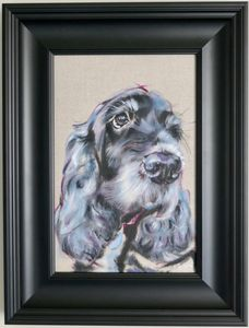 Original oil painting of a black Spaniel