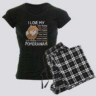 Gifts for the Pomeranian lover.  Pomeranian themed pajamas for the dog owner.  Pomeranian pajamas