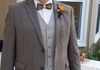 Metallic, silk and wool bow tie, groom's styling