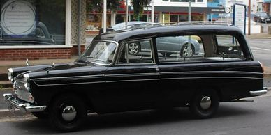 Classic car 1960s sixties hearse restoration The Crown Christine Keeler Filming TV unique funeral