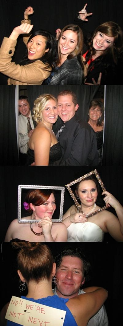 Guests using the Little Black Booth Photo Booth during a rental in Grand Rapids