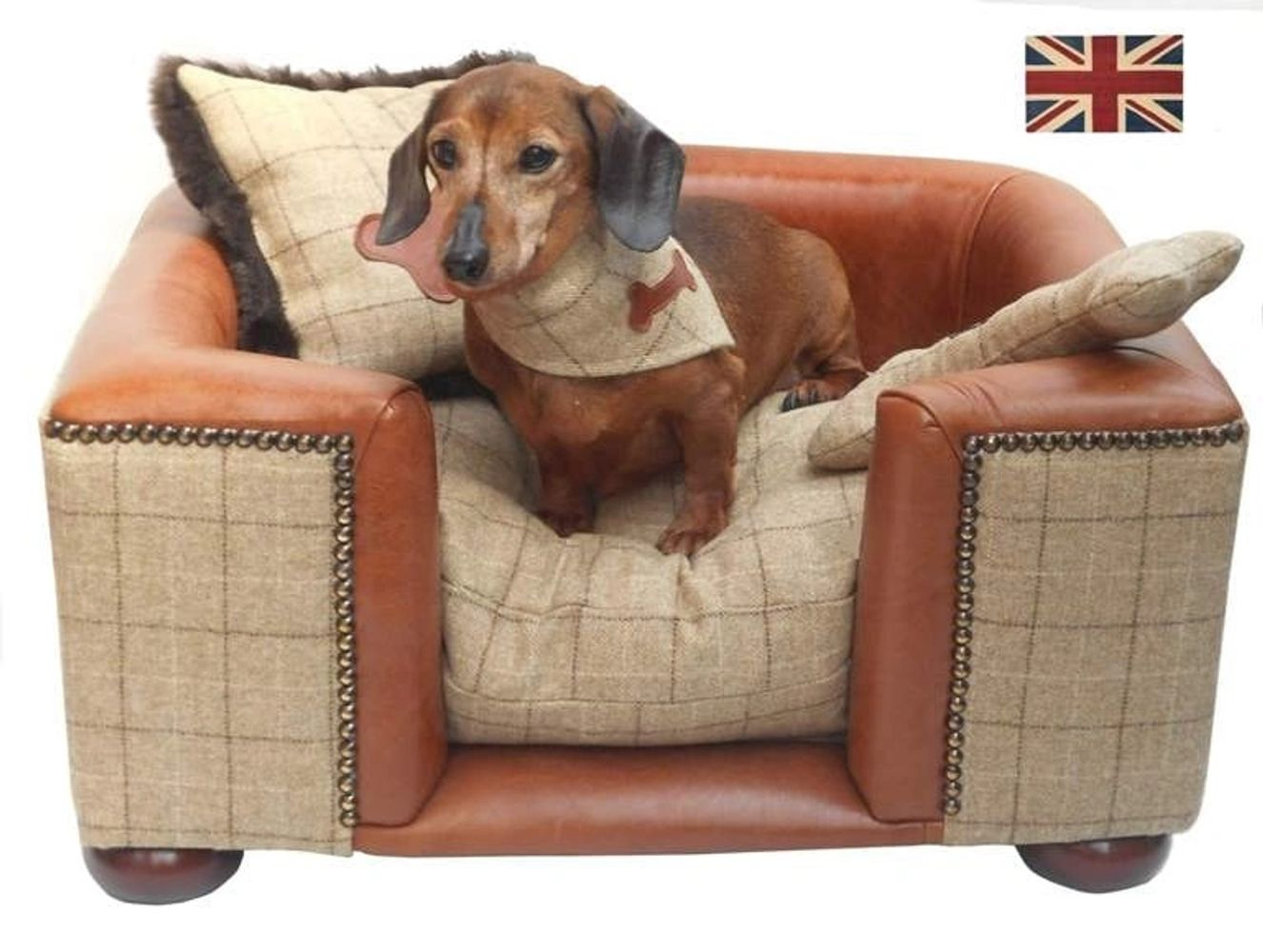 Raised luxury dog bed. leather and tweed dog bed.Bespoke furniture for dogs