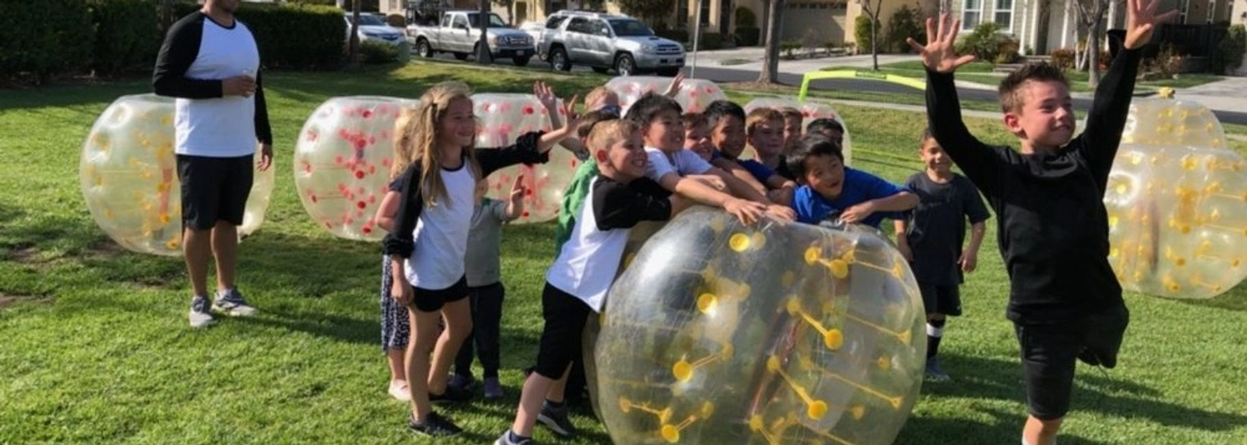 Kids Bubble Soccer Party is one of the best party ideas.  They rented the bubble soccers for team.