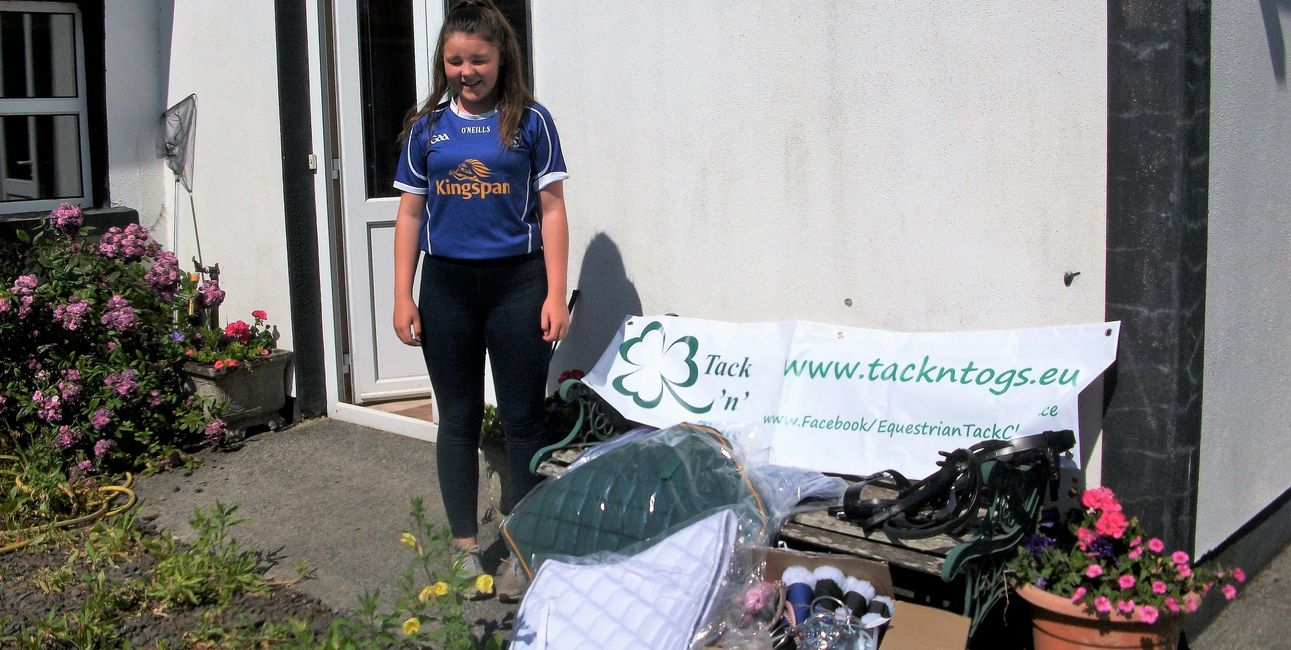 Katie collecting some of the items for Tack'n'Togs  sponsorship assistance