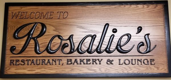 Custom designed and created sign for local restaurant, bakery and lounge.
