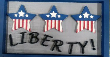 Independance Day Liberty Plaque with Flag Stars United States of America