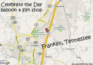 Celebrate the Day balloon and gift shop delivers to Franklin, Tennessee.