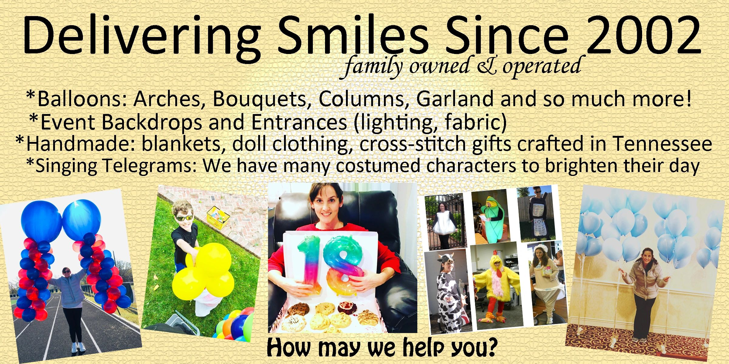 Delivering Smiles with Balloons, Event Backdrops, Handmade Gifts, Singing Telegrams in Nashville, TN