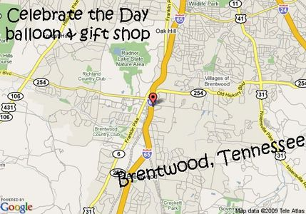Celebrate the Day balloon and gift shop delivers to Brentwood, Tennessee.