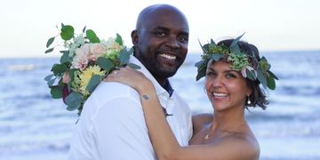 amelia island beach wedding elopement interracial couple flower crown bridal bouquet boho chic