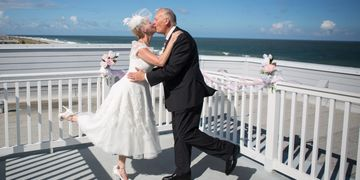 cute couple vow renewal beach elopement amelia island wedding adorable bride