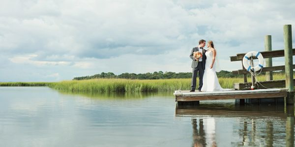 Bride and Groom Marshview Florida outdoor wedding