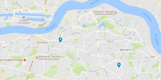 A map showing the locations of our classes in Plumstead and Bexleyheath.