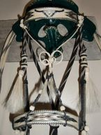 horsehair hitched bridle:  Montana prison made with steer head design